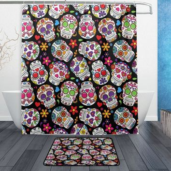 Flower Sugar Skull Waterproof Polyester Fabric Shower Curtain with Hooks