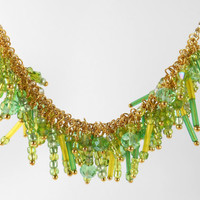 Green Statement Bib Necklace Glass Crystal Statement Jewelry Gold Cluster Necklace Collar Glass Beadwork