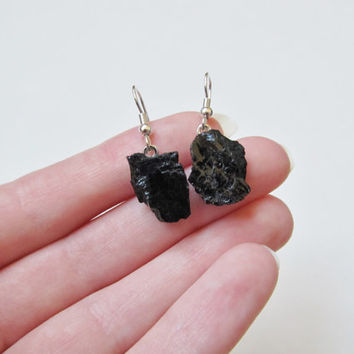 Black Tourmaline Earrings, Raw Black Tourmaline, Tourmaline Earrings, Rough Black Tourmaline, Raw Gemstone Earrings, Raw Crystal Earrings