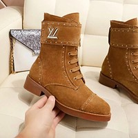 LV Louis Vuitton Trending Women Stylish Rivet Shoes Boots Brown I-ALS-XZ