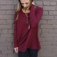 Olympic View Wine Oversized Long Sleeve Thermal Knit Henley Top