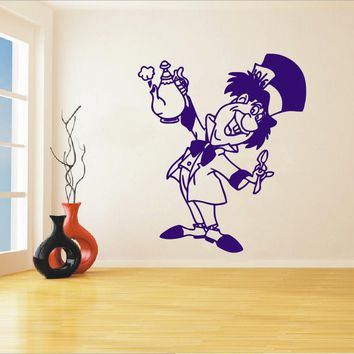 Mad Hatter Wall Decal Alice In Wonderland Decals Vinyl Stickers Tea Party Decor Dining Room Kitchen Wall Art Decor Poster WA-21