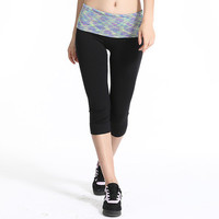 Summer Women Casual Sport Suit Fitness Sportswear Stretch Exercise Yoga Leggings  Trousers Pants _ 2140