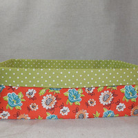 Lovely Orange, Blue and Green Floral Long Fabric Basket