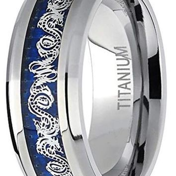 CERTIFIED 8MM Men's Titanium Ring Dragon Design Over Blue Carbon Fiber Inlay
