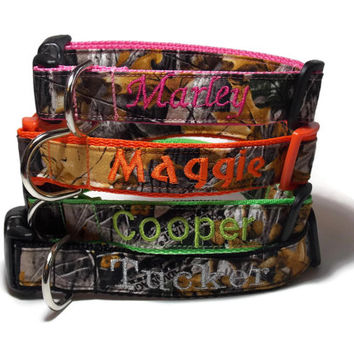 Real Camo, Embroidered on Pink, Orange, Yellow, Green, Blue, Purple, Black, or Silver Dog Collar