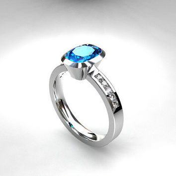 Cushion cut blue topaz ring, engagement ring, diamond engagement, Blue, Swiss blue topaz, bezel, solitaire, gold, blue topaz engagement