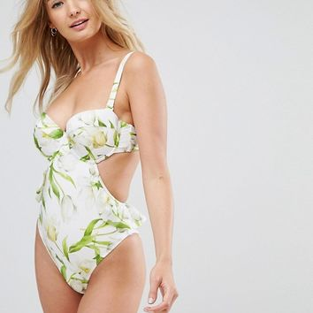 ASOS FULLER BUST Riviera Floral Print Cupped Frill Bandeau Swimsuit DD-G at asos.com