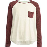 Full Tilt Contrast Pocket Girls Raglan Tee White/Red  In Sizes