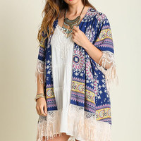 Lighthearted Summer Cardigan - Navy - Plus