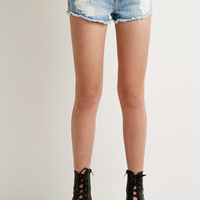Distressed Denim Faded Cutoffs