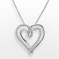 Two Hearts Forever One Sterling Silver 1/4-ct. T.W. Diamond Heart Pendant (White)