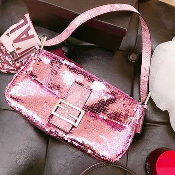 FENDI Fashion Women Leather Chic Sequins Handbag Shoulder Bag Crossbody Satchel Pink