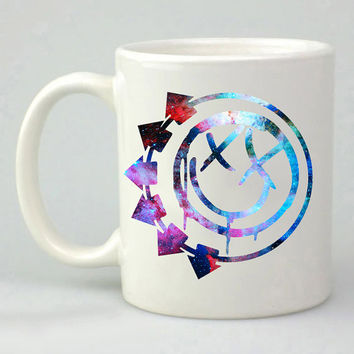 Blink-182 logo in galaxy design for mug, ceramic, awesome, good,amazing