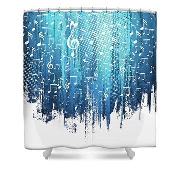 Blue Paint Strokes and Music Notes - Shower Curtain- Custom Designed-Made To Order