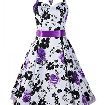 Floral Print Halter Sweetheart Neckline Tent Dress