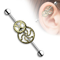 Steam Punk Industrial Barbell 14ga Upper Ear Scaffold Piercing Jewelry Body Stainless Steel