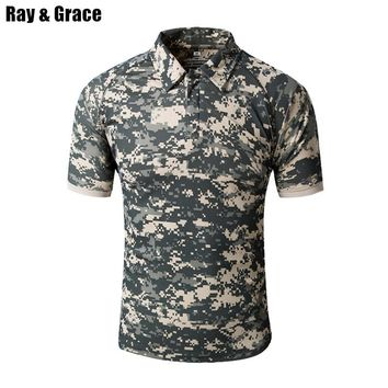 RAY GRACE Camouflage Polo Shirt Men Quick Dry Outdoor Hiking Camping Mountain Climbing Trekking T-shirts Military Hunting Tees