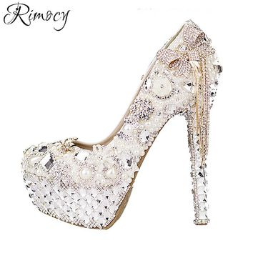 Rimocy custom crystal wedding shoes women white rhinestone and pearls bowtie super high heels platform