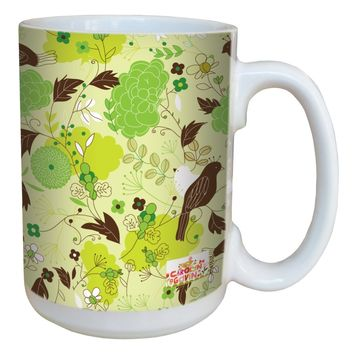 Tree-Free Greetings lm43533 Contemporary Peony Spring Floral by Carolyn Gavin Ceramic Mug with Full-Sized Handle, 15-Ounce