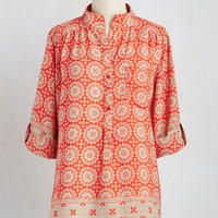 Boho Mid-length 3 Cook Lively! Top in Tangerine