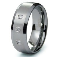 Tungsten Carbide Diamond Wedding Band Ring 8mm (0.10ctw) GH/SI Sz 10.5 SN#123