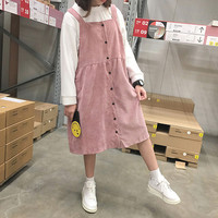 Autumn and winter women's new corduroy dress student campus style solid colour loose Medium and long Strap dress