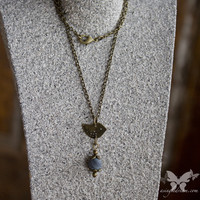 Little Brass Bird w/Blue Agate Necklace from A Single Dream