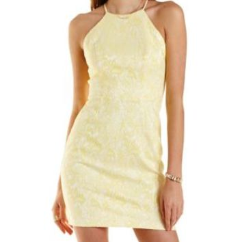 Yellow Combo Bonded Lace Bodycon Dress by Charlotte Russe