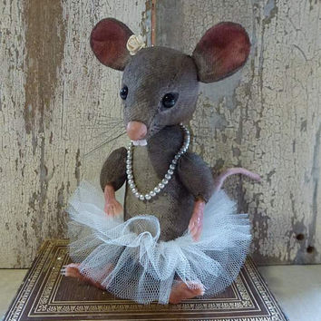Macy Mouse: vintage style, soft sculpture animal, artist bear. Heirloom gift, baby room or child's room, or for the child in you!