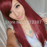 Wig Wine Red Long Straight Hair Inclined Bang High Temperature Wigs