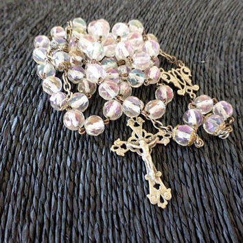 Antique French, Silver, Crystal, Rosary, SHIPPING INCLUDED