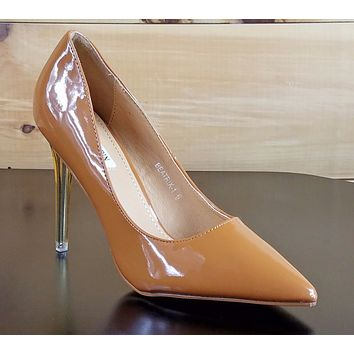 Cape Robbin Pointy Toe Pump With Lucite Clear Stiletto Heel Camel Patent