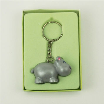 Baby Shower Favor Key Chain, 4-inch, Hippo