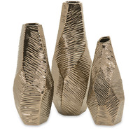 Metallic Bronze Geometric Vases- Set of 3