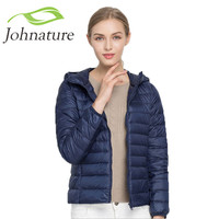 Johnature 2017 Spring 17 Colors Fall New 90% White Duck Down Coat Hooded  Warm Slim Zipper Women Fashion Light Down Jacket S-3XL