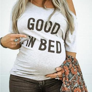 New Grey Monogram Good In Bed Pattern One Shoulder Half Sleeve Casual Maternity T-Shirt