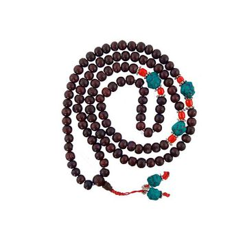 Rosewood and Turquoise Mala Necklace