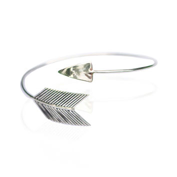 Simple Boho Arrow Cuff in Solid 925 Sterling Silver