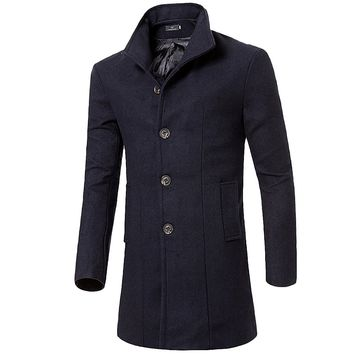 YJSFG HOUSE Casual Fashion Winter Long Coat Thicken Warm Business Men Trench Coat Autumn Lapel Mens Overcoat Casaco Masculino