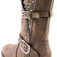 Breckelle's Rocker17 Brown Studded Buckle Ankle Boots and Shop Boots at MakeMeChic.com