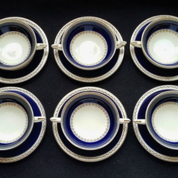 Crown Ducal Flat Cream Soup Bowls with Under Plates, Set of 6 Vintage Cobalt Blue Indigo Gold Trim China Dinner Service Charlotte Rhead