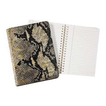 Graphic Image Goldwash Embossed Python Leather Notebook