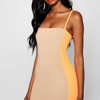 Claire Neon Contrast Panelling Bodycon Dress | Boohoo