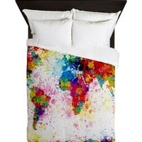 World Map Paint Splashes Queen Duvet
