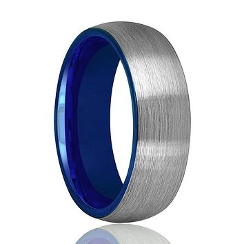 Tungsten Wedding Band - Men and Women - Comfort Fit - Blue Round Domed - Brushed Tungsten Carbide Wedding Ring - 2mm - 4mm - 6mm - 8mm