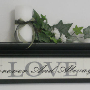 "LOVE - Shabby Chic Home Decor Wall Shelf 24"" in  Black with Sign - LOVE - Forever And Always"