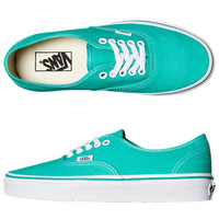 VANS WOMENS AUTHENTIC SHOE - POOL GREEN TRUE WHITE