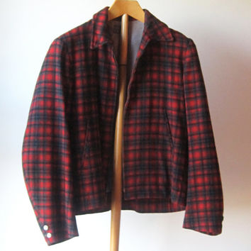 Vintage Pendleton Zip Front Jacket Rockabilly / Red Plaid Wool Jacket
