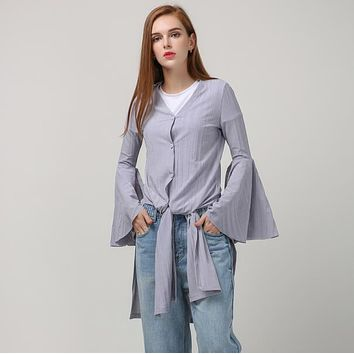 Spring Long Flare Sleeve Knitted Trench Women Coats New Fashion Clothing